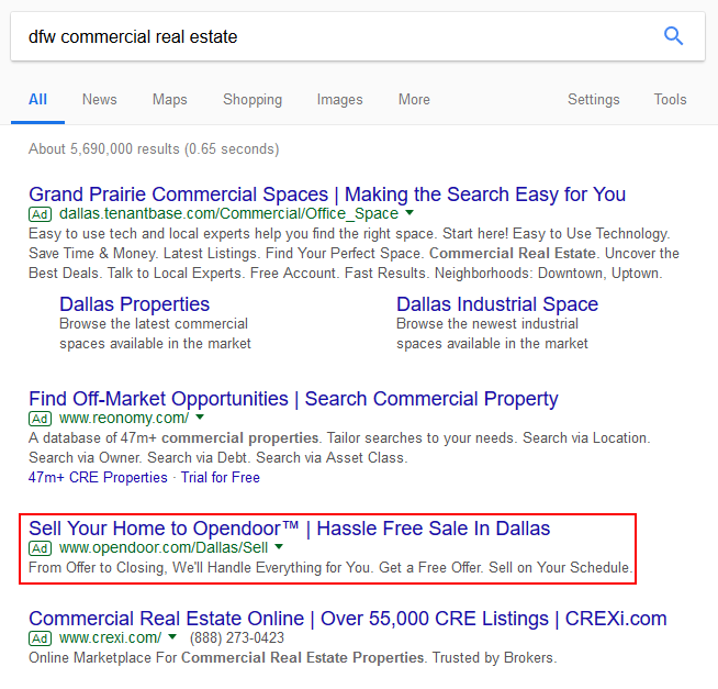 dfw real estate search results showing paid ads at the top with one ad for open door outlined in red its headline reads sell your home to opendoor | hassle free sale in dallas
